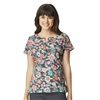 Tropical Evening Pewter Notch Neck Print Top