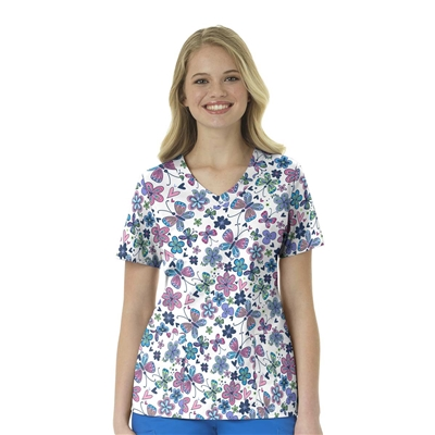 Zoe + Chloe Butterfly Bliss Navy Print Top