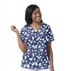 Zoe + Chloe Love Birds Navy Print Top
