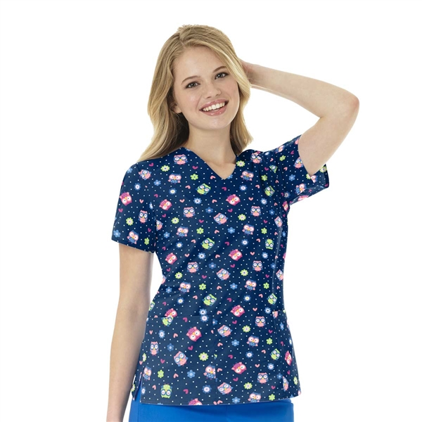 Zoe + Chloe Owl Right Navy Print Top