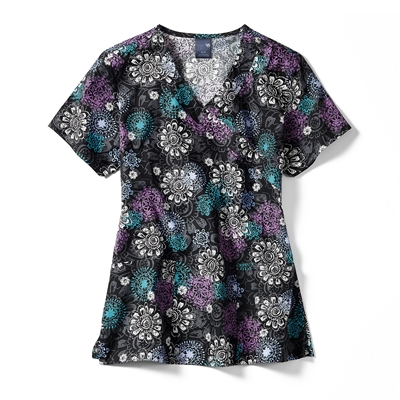 Zoe + Chloe Floral Medallion Print Mock Wrap Top