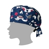 Zoe + Chloe Love Birds Navy Printed Scrub Cap