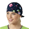 Zoe + Chloe Owl Right Navy Printed Scrub Cap