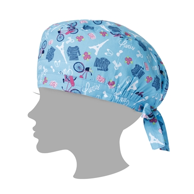 Zoe + Chloe Paris in the Springtime Blue Printed Scrub Cap
