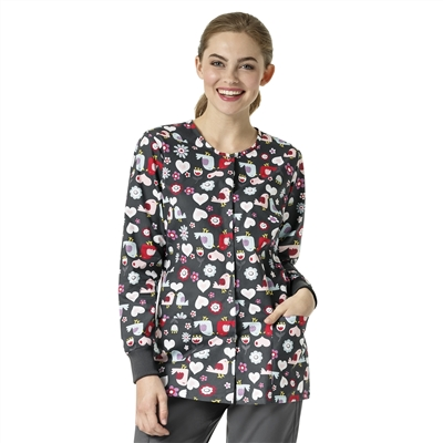 Zoe + Chloe Red Robin Printed Warm Up Jacket
