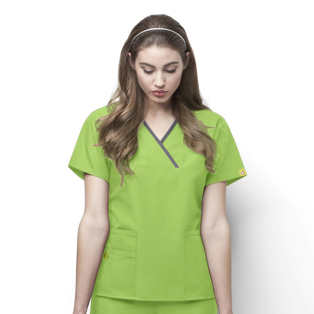 Details about  /Wonderwink Medical Scrub Khaki Origins Mock Wrap Top Top Sz XS-XXL NWT