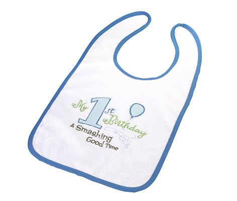 Baby's First Birthday Blue Bib