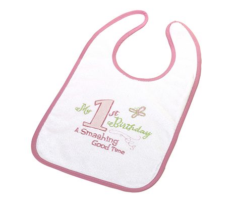 Baby's First Birthday Pink Bib