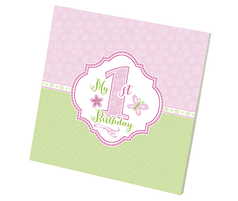 Baby's First Birthday Memory Book Pink