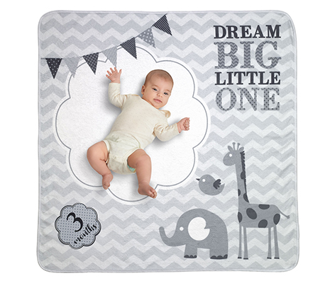 """Dream Big"" Elephant Baby Blanket with Milestone Cards"
