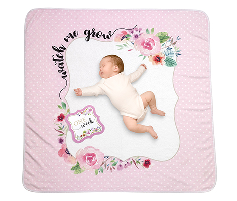 Watch me Grow Baby Blanket with Milestone Cards