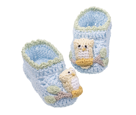 Handmade Crocheted Baby Booties Blue Owl Newborn