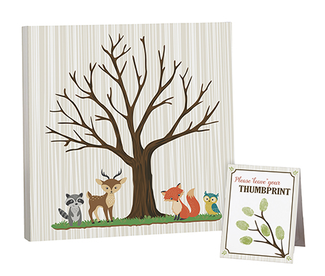 Woodland Theme Baby Shower Guest Signing Canvas
