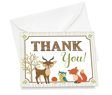 Set of 12 Woodland Animals Thank You Cards