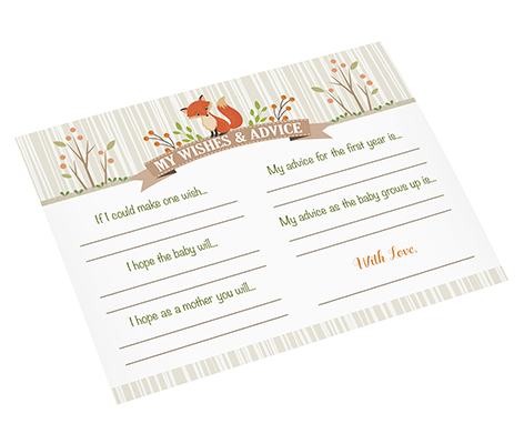 Woodland Baby Shower Guest Wishes Advice Cards