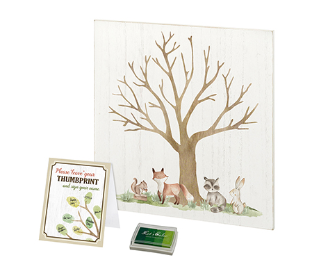 Woodland Baby Shower Guest Book Alternative with Ink Pad
