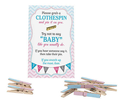 Gender Reveal Baby Shower Party Clothespin Game