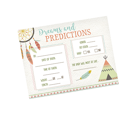 Tribal Baby Shower Predictions Cards