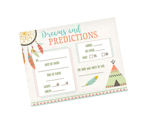 Boho Baby Shower Predictions Cards