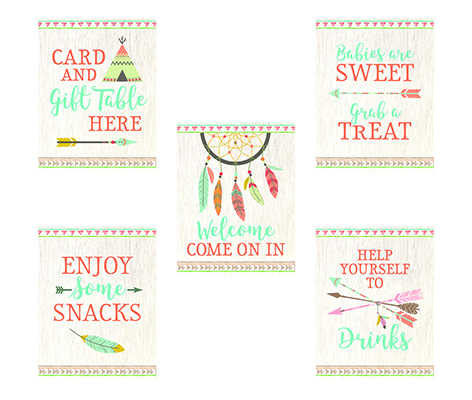 Set of 5 Tribal Baby Shower Decor Signs