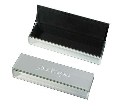Silver Mirrored Keepsake Birth Certificate Box