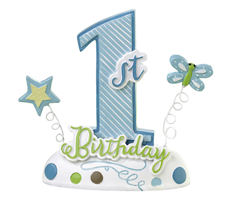Baby's First Birthday Blue Cake Decor Topper