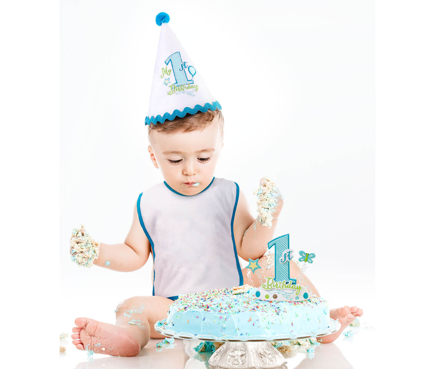 First Birthday Blue Cake Topper