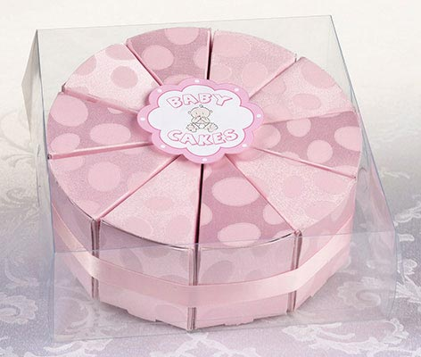 10 Pink Cake Slice Boxes Favors