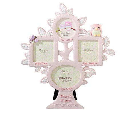 Baby's First Year Picture Frame Pink Owl