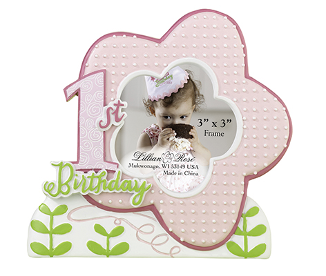 Baby's First Birthday Picture Frame Pink