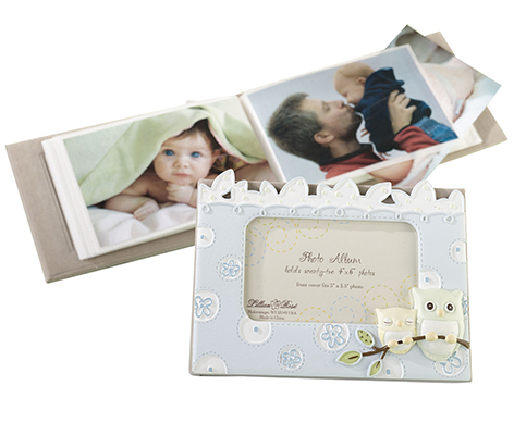 Baby Photo Album Keepsake Blue Owl