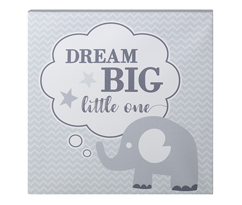 Dream Big Elephant Nursery Canvas