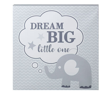 """Dream Big"" Elephant Nursery Canvas"