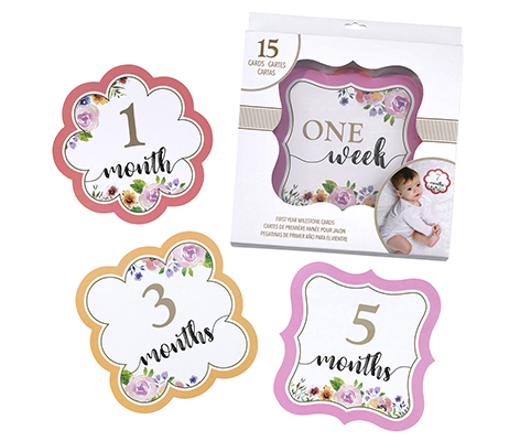 Pink Watercolor Milestone Card Set