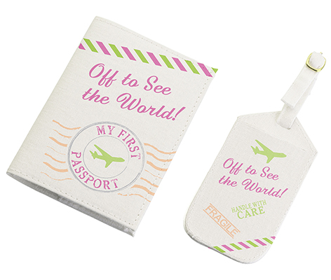 Child 1st Travel Luggage Tag and Passport Pink World