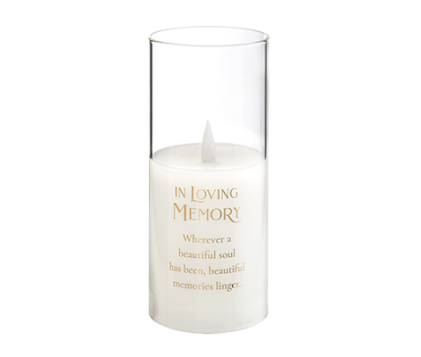 In Loving Memory Glass LED Candle Holder with Sympathy Verse