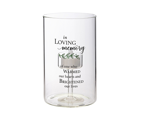 """In Loving Memory"" Memorial Sympathy LED Glass Tea Light Holder with Verse"