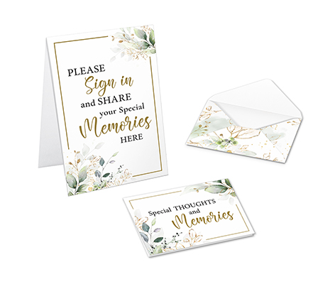 Memorial Guest Book Alternative with Condolence Cards and Envelopes