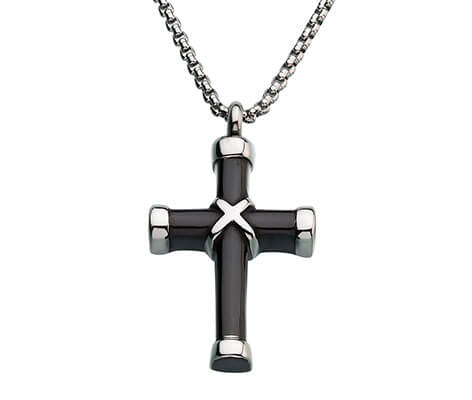 Memorial Jewelry Black Cross Pendant