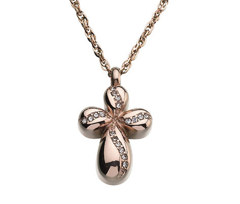 Memorial Jewelry Rose Gold Cross Necklace