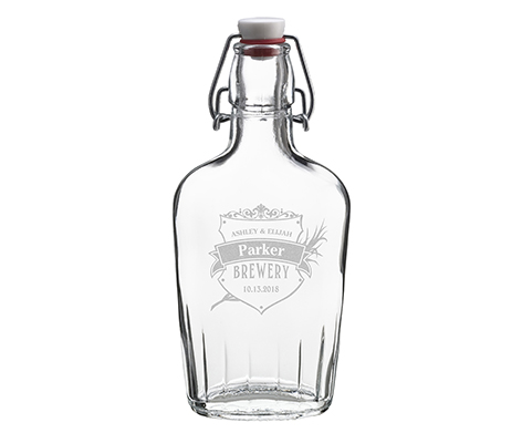 Clear Glass Flask Personalized Crest Keepsake Gift