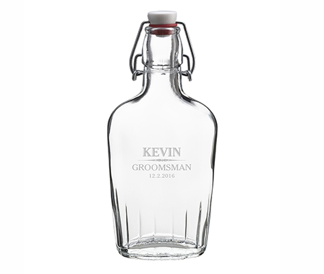 Clear Glass Flask Personalized Keepsake Gift