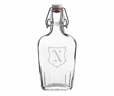 Clear Glass Flask Personalized Monogram Gift