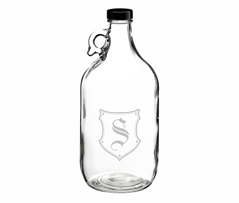 Clear Glass Growler Personalized Monogram Gift
