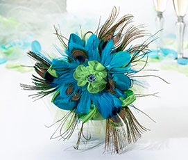 Aqua Peacock Theme Feather Wedding Bouquet