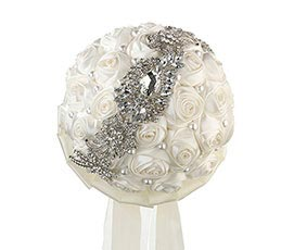 Pearl Jeweled Flower Wedding Bouquet Cream