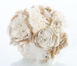 Rustic Country Theme Wedding Burlap Flower Bouquet