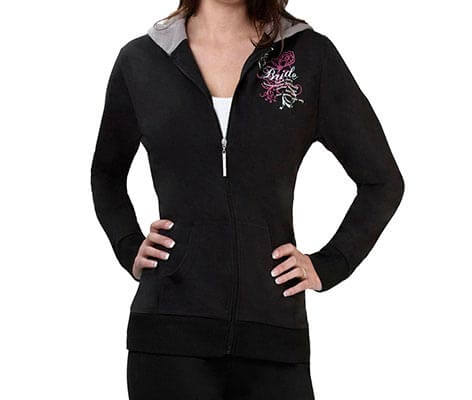 Bride Zip Up Hoodie Black