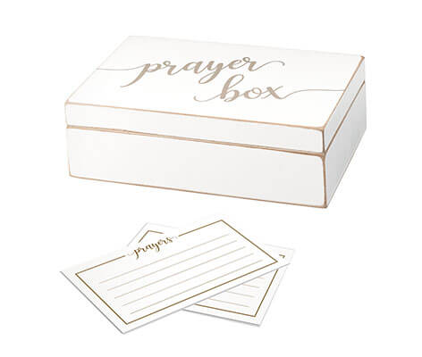 Distressed White Prayer Box with Paper Cards