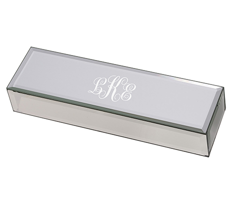Silver Mirrored Scroll Monogram Certificate Box